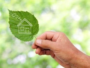green leaf showing home image, energy efficient, eco home concept